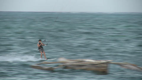 A windsurfer passes by Stock Video Footage