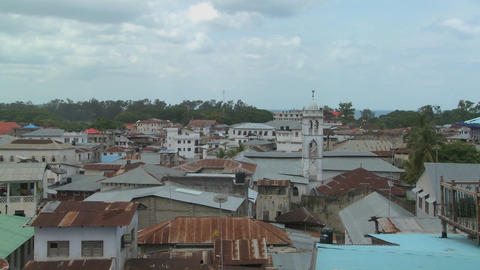 A time lapse shot over the rooftops of Stone Town, Zanzibar Footage