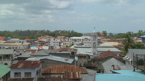 A time lapse shot over the rooftops of Stone Town, Zanzibar Stock Video Footage