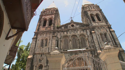 Low angle view of the old cathedral in Stone Town, Zanzibar Stock Video Footage