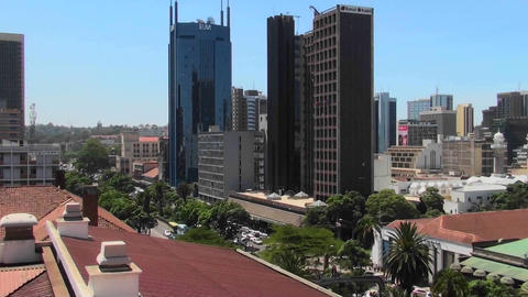 Establishing shot of the skyline of Nairobi, Kenya Footage