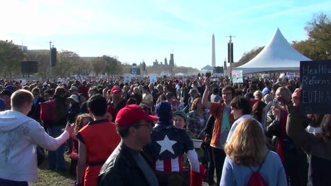 The huge crowds at the on Stewart Stephen Colbert rally... Stock Video Footage