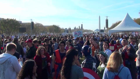 The huge crowds at the on Stewart Stephen Colbert rally in Washington D.C Footage