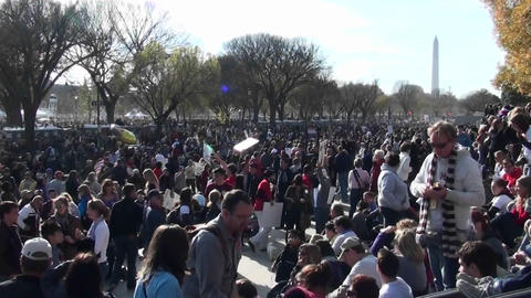 Huge crowds of protestors gather in Washington D.C Stock Video Footage