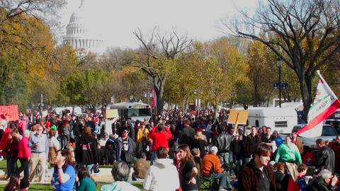 Huge crowds of protestors gather in Washington D.C. for a... Stock Video Footage