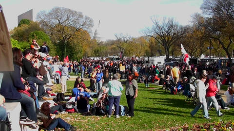 Huge crowds of protestors gather on the mall in Washington D.C. for a protest rally Footage