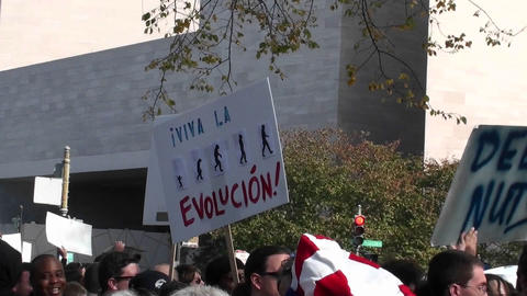 Protestors hold signs at a rally which include the mention of tea baggers and evolution Footage