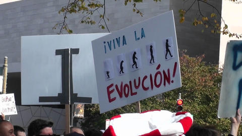 Protestors hold signs at a rally which include the... Stock Video Footage
