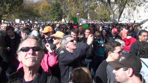 Huge crowds mass in the streets at a political rally in... Stock Video Footage