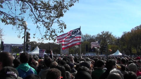 Crowds of protestors on the mall in Washington D.C Stock Video Footage