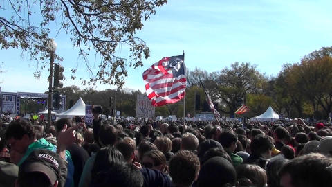Crowds of protestors on the mall in Washington D.C Footage