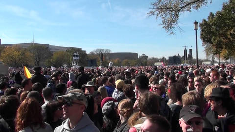 Crowds of protestors on the mall in Washington D.C. does... Stock Video Footage