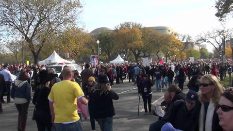 Huge crowds walk in a demonstration in Washington D.C Stock Video Footage