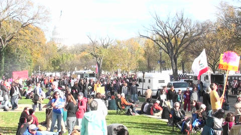Large crowds gather around the Capital building in Washington D.C Footage