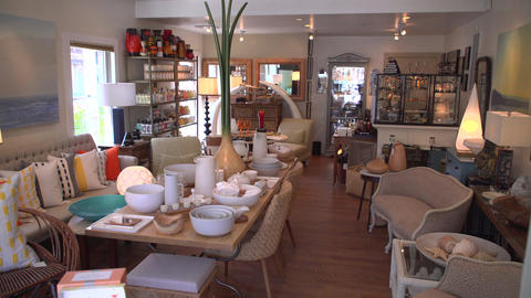 View inside an attractive home goods shop Footage