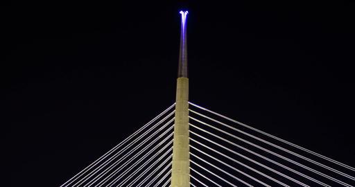 Bridge top light changing colors. Timelapse. 4k Footage