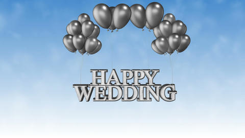 Happy Wedding Silver_Ballons CG動画素材
