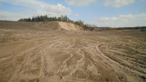 Sand ballast quarry on the cloudy summer day Live Action