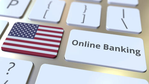 Online Banking text and flag of the USA on the keyboard. Internet finance ライブ動画