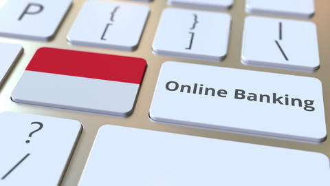 Online Banking text and flag of Indonesia on the keyboard. Internet finance ライブ動画