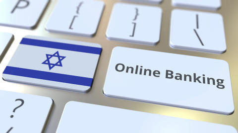 Online Banking text and flag of Israel on the keyboard. Internet finance related ライブ動画