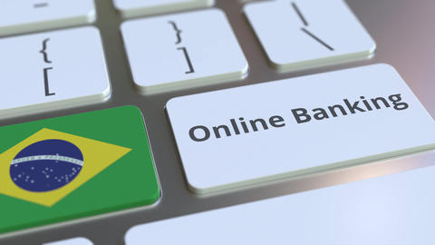 Online Banking text and flag of Brazil on the keyboard. Internet finance related ライブ動画