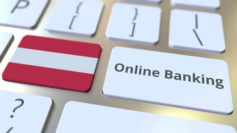 Online Banking text and flag of Austria on the keyboard. Internet finance ライブ動画