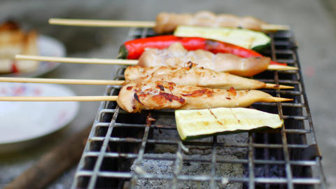 Close-up of a barbecue. Easy healthy food Live Action