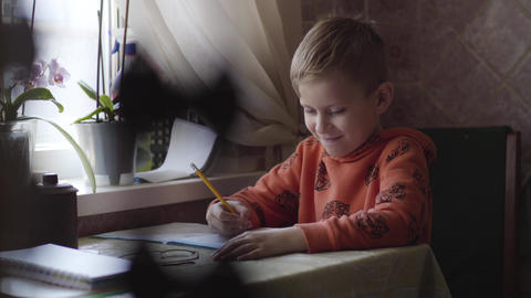 Portrait of cute Caucasian schoolboy studying at home. Little boy doing homework Live Action