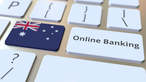 Online Banking text and flag of Australia on the keyboard. Internet finance ライブ動画