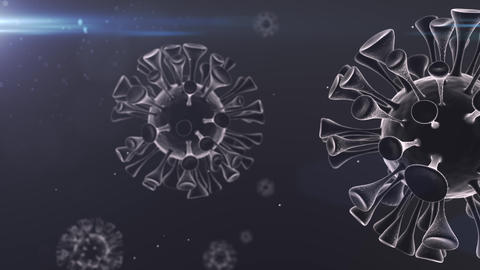 Virus Covid Corona Spinning particles Loop white right CG動画