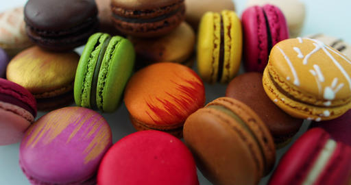Macarons dessert. Many cute colors Assortment of pastel colored macaron of Live Action
