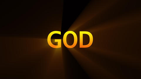 Computer generated background with golden banner GOD. 3d rendering of religious Live Action