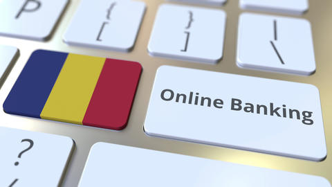Online Banking text and flag of Romania on the keyboard. Internet finance ライブ動画