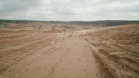 Sand quarry in the summer sunny day Live Action