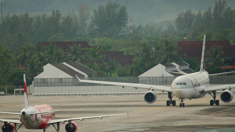 Airplane Airbus 330 taxiing before departure Live Action