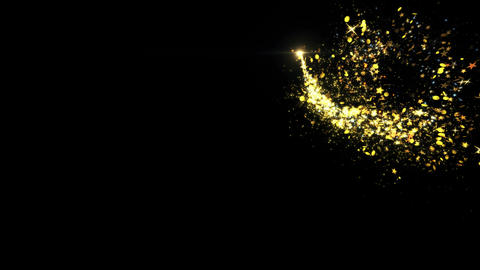 Golden glitter flight with Shining gold light particles trail Live Action