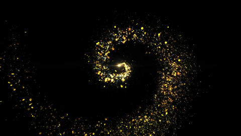 Gold luxury sparkling glitter star dust trail Particles On Black Live Action