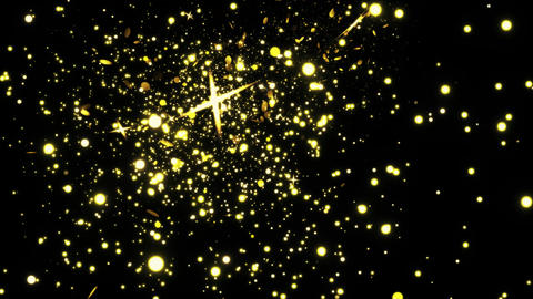 Golden glitter flight with sparkling light Loop Animation Live Action