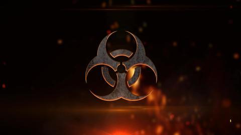 Biohazard symbol in flames Animation