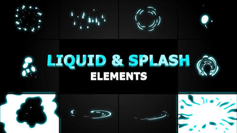 Liquid and splash elements After Effects Template