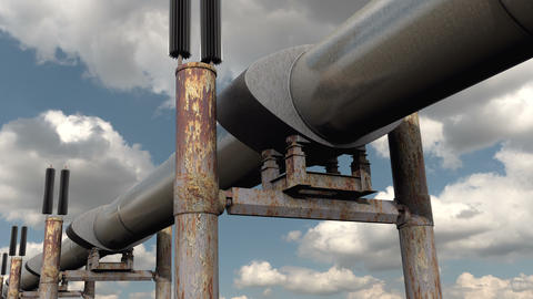 Gas and Oil Pipeline transportation the crude fuel Live Action