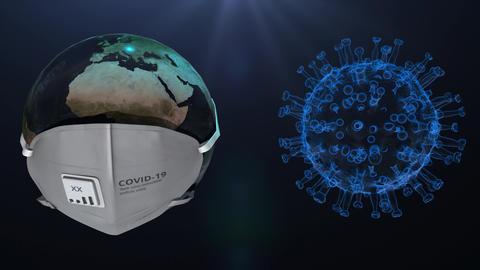 coronavirus covid-19 virus epidemic disease 3d render, isolated dark background Animation