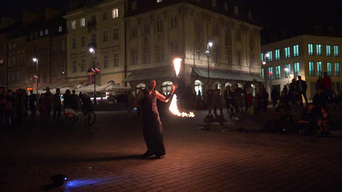 Fire show at the Castle Square in Warsaw. Poland. 4K Footage