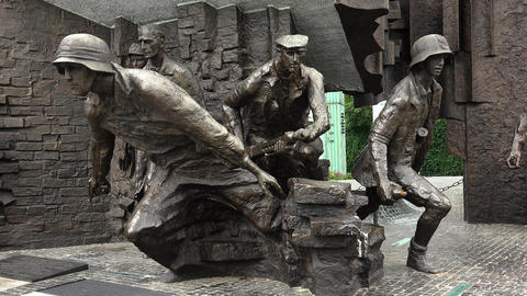 Warsaw Uprising Monument in Warsaw, Poland. 4K Live Action
