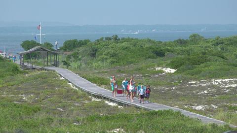 People walking on boardwalk at Ho Hum beach on Fire Island Footage