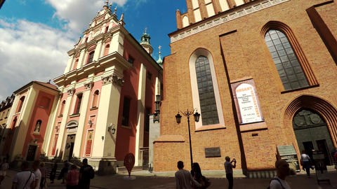 Catholic churches St. Johns Archcathedral and Jesuits in Warsaw. Poland. 4K Footage