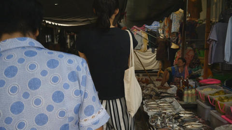 Mae Klong railway market Footage