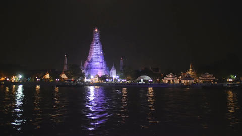 Night view of Bangkok from Chao Phraya river Footage