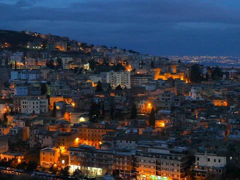 Tivoli before dawn. Panorama. Italy Footage